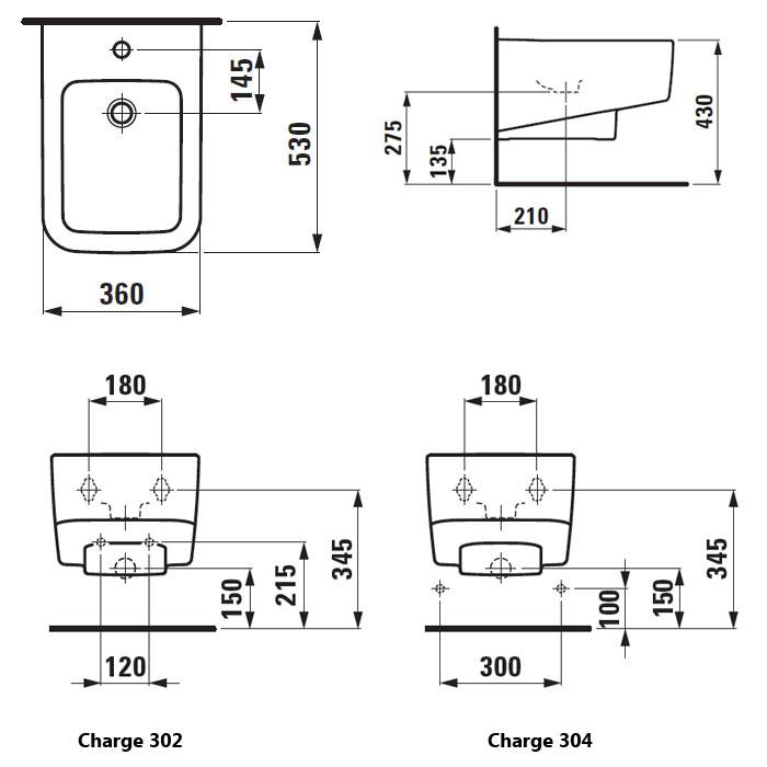 Laufen Pro S Bidet Zavesny 53 Cm S Otvorem Pro Baterii Bez