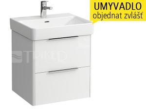 Base skříňka s2 zásuvkami pod umyvadlo Pro S55 x 46,5 cm, bílá/lesk