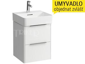Base skříňka s2 zásuvkami pod umývátko VAL 45 x 42 cm, bílá/lesk