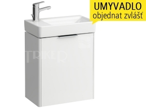 Base skříňka slevými dvířky pod umývátko 48 x 28 cm, bílá/lesk