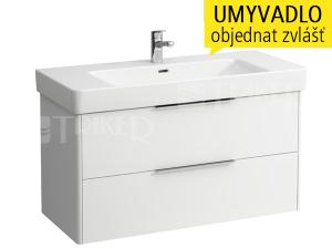 Base skříňka se 2 zásuvkami pod umyvadlo 105 x 46 cm, bílá/lesk