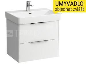 Base skříňka se 2 zásuvkami pod umyvadlo Pro S65 x 46,5 cm, bílá/lesk
