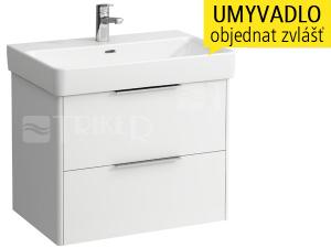 Base skříňka se 2 zásuvkami pod umyvadlo Pro S70 x 46,5 cm, bílá/lesk