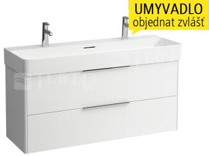 Base skříňka se 2 zásuvkami pod umyvadlo Val 120 x 42 cm, bílá/lesk