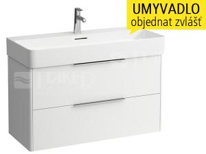 Base skříňka se 2 zásuvkami pod umyvadlo Val 95 x 42 cm, bílá/lesk