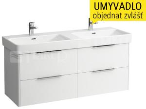 Base skříňka se 4 zásuvkami pod umyvadlo 130 x 46 cm, bílá/lesk