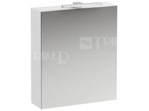 Base zrcadlová skříňka 60 x 70 cm, pravá s osvětlením a zásuvkou, bílá/lesk