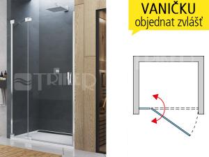 CA13 Sprchové dveře spevnou stěnou levé 750/2000, profil:aluchrom, výplň:čiré sklo