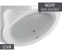 Cejlon vana akrylátová 150 x 100 cm, pravá, bílá včetně nohou, V110150R04T02001, Teiko