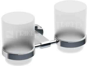Chrome držák dvojitý s pohárky (sklo) CR 220.00 chrom
