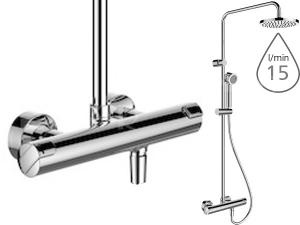 Citypro sprchová baterie termostatická včetně hlavové sprchy a příslušenství, chrom