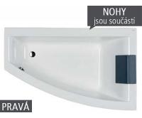 Clarissa vana akrylátová asymetrická 170 x 105 cm, pravá, bílá (včetně nohou), XWA0870000, Kolo