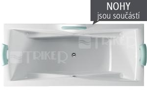 Corona vana akrylátová 190 x 90 cm, bílá včetně nohou
