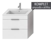 Cube skříňka s 2 zásuvkami s umyvadlem 65 cm tmavý dub, úchytky antracit, H4536021763021, Jika