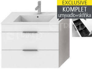 Cube skříňka s 2 zásuvkami s umyvadlem 80 x 43 cm EXCLUSIVE bílá, úchytky chrom