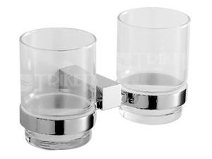 Cubito držák dvojitý se skleněnými poháry chrom