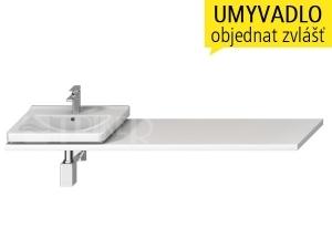Cubito-N umyvadlová deska s otvorem 65 - 160 cm, bílá