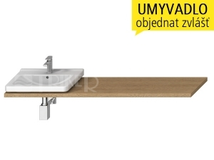 Cubito-N umyvadlová deska s otvorem 65 - 160 cm, dub