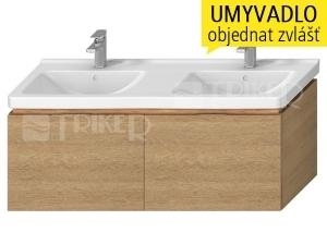 Cubito skříňka se 2 zásuvkami pod dvojumyvadlo 130 x 48,5 cm, dub