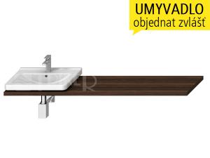 Cubito umyvadlová deska s otvorem 65 - 160 cm, tmavá borovice