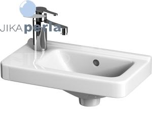 Cubito umývátko asymetrické 45 x 25 cm levé, sotvorem pro baterii, bílé/PERLA