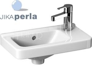 Cubito umývátko asymetrické 45 x 25 cm pravé, sotvorem pro baterii, bílé/PERLA