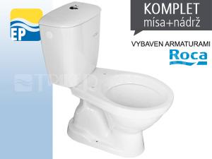 EP Klozet kombinační 63 spodní odpad, armatury ROCA, odpad 14cm bílý