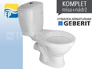 EP Klozet kombinační 63 vodorovný odpad, armatury Geberit