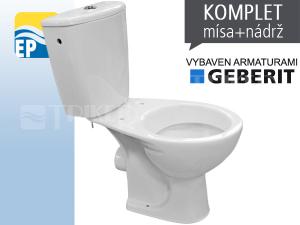 EP klozet kombinační 67 vodorovný odpad, armatury Geberit