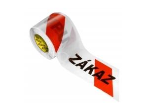 Fólie výstražná červeno-bílá ZÁKAZ VSTUPU 8cm svitek 100m