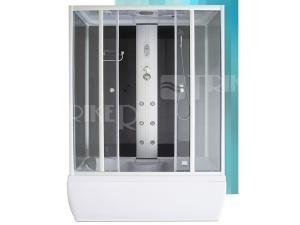 Gent Black masážní box 1500x850x2150mm, profil:stříbro, výplň:transparentní sklo