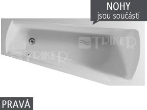 Harmony vana akrylátová 160 x 75 cm pravá bílá včetně nohou