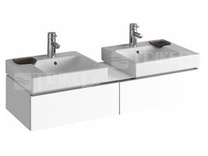 iCon umyvadlo asymetrické 50 x 48,5 cm s dekorativní miskou vlevo, s otvorem, bílé