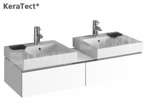 iCon umyvadlo asymetrické 50 x 48,5 cm s dekorativní miskou vlevo, s otvorem, bílé+KeraTect