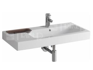 iCon umyvadlo asymetrické 90 x 48,5 cm s dekorativní miskou vlevo, s otvorem, bílé