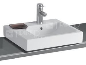 iCon umyvadlo na desku asymetrické 50 x 48,5 cm s dekorativní miskou vlevo, s otvorem, bílé