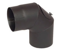 Koleno kouřovodu 90° s čistícím otvorem 150 x 1,5mm černé