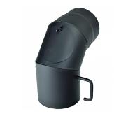 Koleno kouřovodu 90° s čistícím otvorem a klapkou 150 x 1,5mm černé