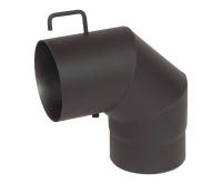 Koleno kouřovodu 90° s klapkou 130 x 1,5mm černé