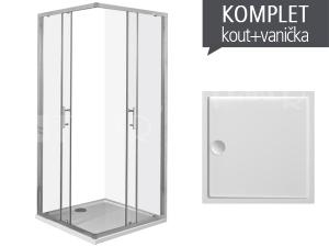 Komplet Cubito Pure 90 sprchový kout profil:stříbro, výplň:čiré sklo + Padana vanička z litého mramoru 90 x 90 x 3 cm