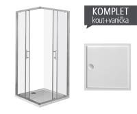 Komplet Cubito Pure 90 sprchový kout profil:stříbro, výplň:čiré sklo + Padana vanička z litého mramoru 90 x 90 x 3 cm, TK512420026681, Jika