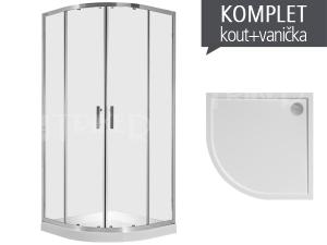 Komplet Cubito Pure 90 sprchový kout R550 profil:stříbro, výplň:čiré sklo + Padana vanička z litého mramoru 90 x 90 x 3 cm
