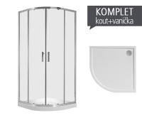 Komplet Cubito Pure 90 sprchový kout R550 profil:stříbro, výplň:čiré sklo + Padana vanička z litého mramoru 90 x 90 x 3 cm, TK532420026681, Jika