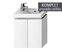 Komplet Cubito skříňka s 2 dvířky s umývátkem 45 x 25 cm, otvor vlevo, bílá, TK0J4202005001_L, Jika