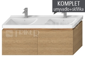 Komplet Cubito skříňka se 2 zásuvkami sdvojumyvadlem 130 x 48,5 cm, dub
