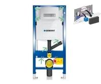 Komplet Duofix pro závěsné WC pro odsávání zápachu přes tlačítko+Sigma 40 bílá/kartáčovaný hliník, 111.370+115.600.KQ, Geberit