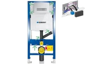Komplet Duofix pro závěsné WC pro odsávání zápachu přes tlačítko+Sigma 40 bílá/kartáčovaný hliník