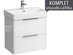 Komplet Laufen Base skříňka se 2 zásuvkami sumyvadlem Pro S60 x 38 cm, bílá/lesk