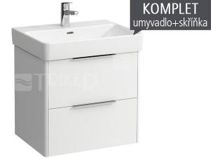 Komplet Laufen Base skříňka se 2 zásuvkami sumyvadlem Pro S60 x 46,5 cm, bílá/lesk