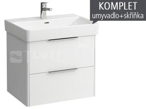 Komplet Laufen Base skříňka se 2 zásuvkami s umyvadlem Pro S 65 x 46,5 cm, bílá/lesk
